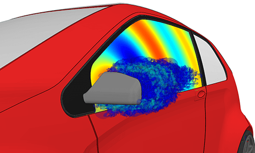 Actran and SC/Tetra aero-acoustic simulation of a side mirror. Image courtesy of MSC.