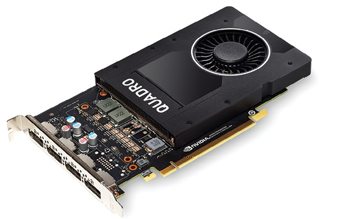 Fig. 1: The NVIDIA Quadro P2000 mid-range graphics board.
