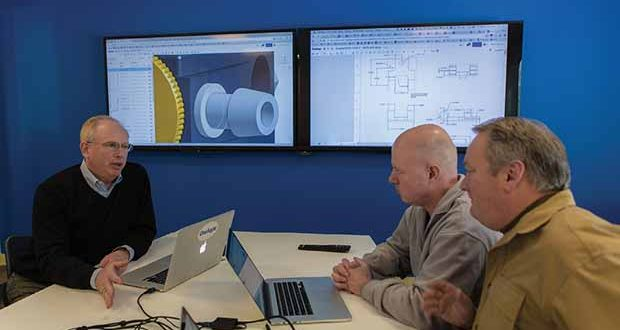 Left to right: Onshape CEO Jon Hirschtick discusses the software with engineers Bob Miner and Steve Hess.