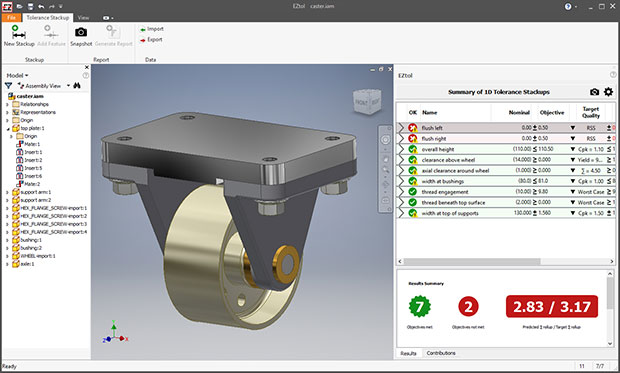 Sigmetrix has announced a May 1st release date for EZtol, its new one-dimensional (1D) analysis solution for understanding the impact of part and assembly variations on product fit and performance. Image courtesy of Sigmetrix LLC.