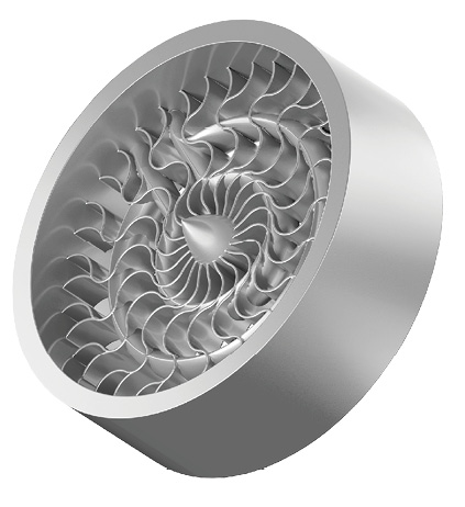 Direct metal laser sintering enables the creation of complex internal channels. Image courtesy of Proto Labs.