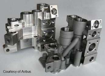 Pictured here is a hydraulic manifold for an Airbus A380 spoiler, a wing device that slows or causes an airplane to descend. The version on the left is a conventionally-machined manifold. The one on the right was redesigned using methods of DfAM and produced by additive manufacturing. It flew on the A380 in March 2017. The AM version reduced weight by 55%—a significant benefit in aircraft manufacturing.