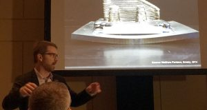 Penn State's Timothy Simpson shows an example of distortion during his presentation at Dassault Systemes' Additive Manufacturing Symposium.