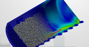 The EDEM for CAE discrete element modeling (DEM) software line brings bulk material simulations to engineers using major finite element analysis and multibody dynamics systems in the the design of heavy equipment. Image courtesy of EDEM.