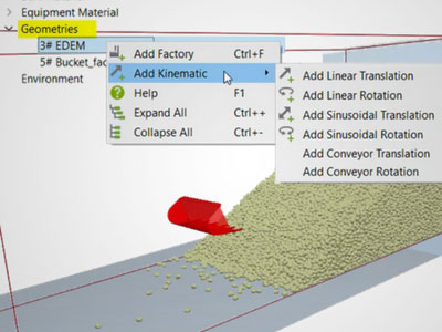 Users launch EDEM for ANSYS from within ANSYS Workbench. All analyses are performed in ANSYS. Neither knowledge of discrete element modeling (DEM) nor expertise in bulk material simulation are required. Image courtesy of EDEM.