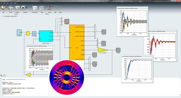 Flux 12.3 offers co-simulation with solidThinking Activate system simulator. Image courtesy of Altair Engineering Inc.