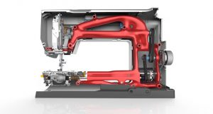 Bernina's B880 embroidery machine was designed in Solid Edge. This image shows how generative design in Solid Edge ST10 could drive the next generation machine optimized for weight and strength, while maximizing opportunity for additive manufacturing while minimizing material waste. Image courtesy of Siemens PLM Software.
