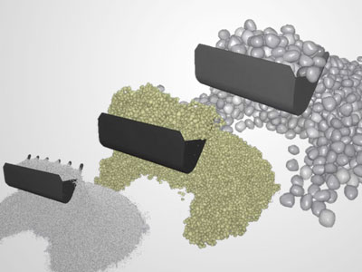 For realistic material loads, EDEM for CAE has a library of thousands of materials models representing ores, soils, rocks, gravels, particles and the like. Image courtesy of EDEM.