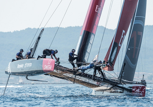 In addition to cross-discipline engineering technology working together, everyone on each America's Cup team must work together for victory. Photo by Ricardo Pinto/via ACEA.