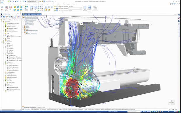 Solid Edge Flow Simulation is fully integrated in ST10. The company says it delivers accurate and fast fluid flow and heat transfer simulation and analysis that is easy to use for the designer and powerful enough for simulation specialists. Image courtesy of Siemens PLM Software.