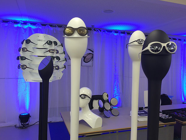 Glasses from Yuniku and other manufacturers of 3D printed eyewear on display at Materialise World Summit 2017. Image courtesy of Materialise.