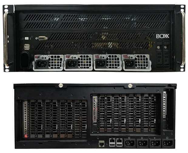 A combination view of the front and rear sides of the NVIDIA Visual Computing Appliance certified BOXX APEXX 8R GPU-rendering system. Image courtesy of BOXX Technologies.