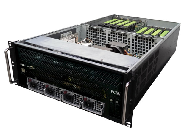 A top down view inside the BOXX APEXX 8R. This rack-mounted network server for design intensive industries can accommodate up to eight professional-level NVIDIA Quadro graphics units. Image courtesy of BOXX Technologies.