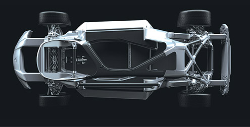 In Divergent 3D's NODE system, the chassis is built using 3D-printed components that can easily be assembled. The process bypasses many of the typical tooling and machining steps required in auto-making. Image courtesy of Divergent 3D.