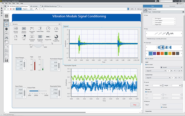 This LabVIEW NXG screen captures depicts a module for vibration signal conditioning. Image courtesy of National Instruments.