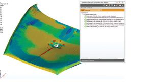 Granta Design collaborated with the UK-DATACOMP project, which developed simulation-ready data from testing for crash simulation of composites in the automotive sector. The image shows a car hood impact analysis using GRANTA MI. Image courtesy of Granta Design.