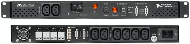 A 16-amp ATE Core Configuration can be equipped with a single-phase PDU (power distribution unit) that supports global input voltages (100–240 V, 50–60 Hz) and a 16-amp (IEC 60309 C20) input connector cabled to the power entry panel directly. Image courtesy of National Instruments.