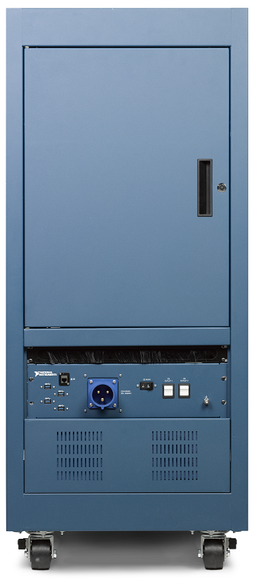 A view of the backside of an NI ATE Core Configuration showing the accessible rear door. The bottom air inlet panel for increased air flow can be customized to add filtering. Image courtesy of National Instruments.