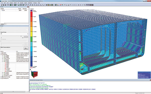Ceetron products process large CAE sets on the server then send the results to the client using WebGL technology. Image courtesy of Ceetron.