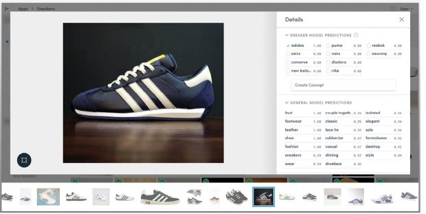 Clarifai's machine learning-based image-recognition tool can learn to recognize particular groups of objects, such as Adidas sneakers. Image courtesy of Clarifai.