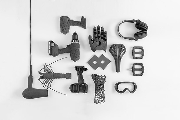 During Fuse-1's 3D-print process, parts are suspended in a bed of powder, which eliminates the need for supports and enables the printing of complex, intricate parts, such as those shown here. Image courtesy of Formlabs Inc.