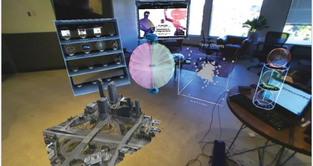 A snapshot of the hologram-augmented view, as seen inside Meta's AR environment. Image courtesy of Meta.