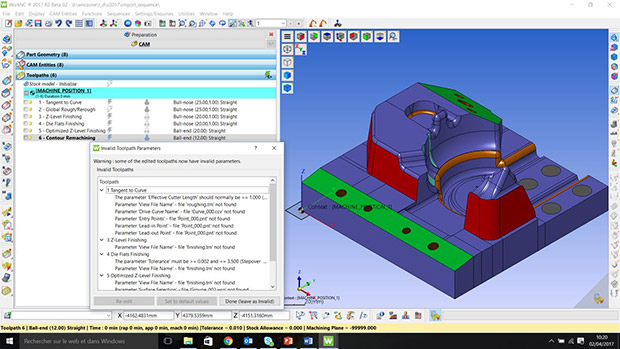 Beginning with the 2017 R2 release, the WorkNC Machining Sequence process now informs users of missing data such as views, curves and point in the WorkNC Workzone, allowing users to make quick corrections. Image courtesy of Vero Software.