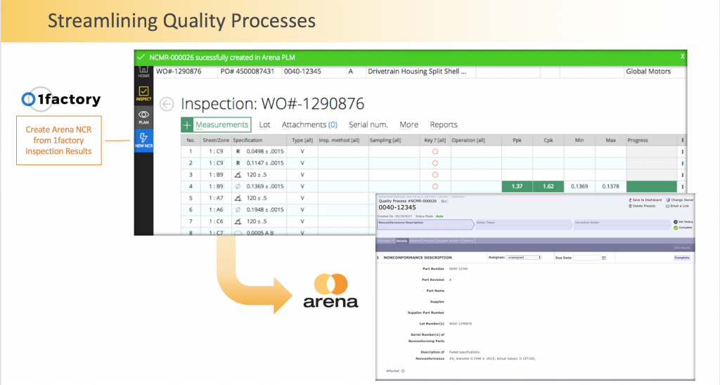Arena's partnership with 1Factory enables quality control processes that could be tapped to enhance sustainability and end-of-life processes. Image courtesy of Arena Solutions.