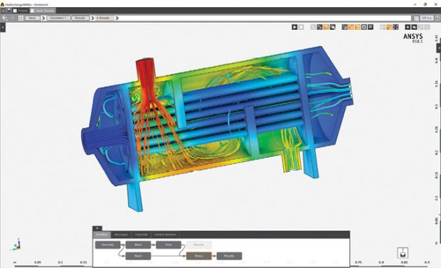 ANSYS AIM uses guided workflows to make multiphysics easier to set up and process. Images courtesy of ANSYS.