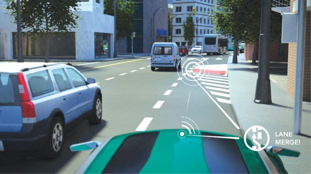 Technology developers see V2V systems as one part of a larger communication system called vehicle to everything, or V2X, which promises to make our highways safer. In this ecosystem, vehicles will communicate with any entity that may affect their safety, including other vehicles, infrastructure, pedestrians and smart devices. Image courtesy of NXP Semiconductors.