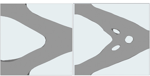 Fig. 7: (a) left, SIMP solution with large feature size. 7(b) right, medium feature size.