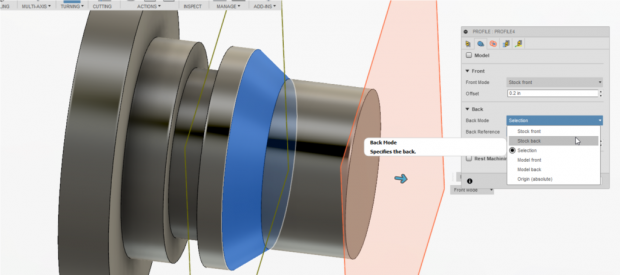 Enhancements to Fusion 360's HSM CAM system enable you to specify the stock front, stock back, model front, model back, chuck front and a new reference origin when you turning a part. Image courtesy of Autodesk Inc.