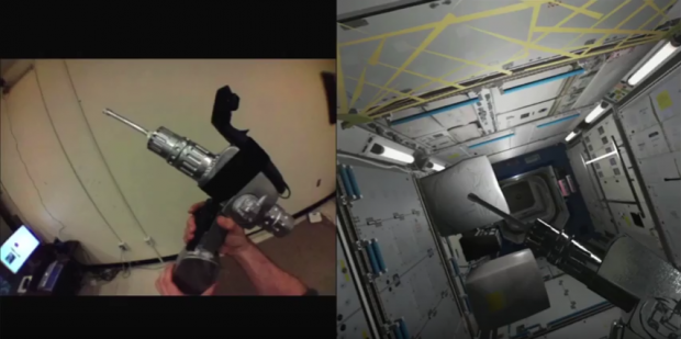A hybrid reality simulation exercise aimed at training how to use a drill at the International Space Station. The drill was 3D scanned and placed into the hybrid reality environment. The moving parts, such as the drill bit, are animated only in hybrid reality for safety reasons. Haptic feedback technology is used to vibrate the controller and make the trainee feel like they are actually drilling.