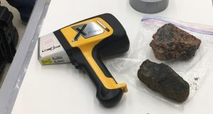A tool like this Olympus Delta X-ray fluorescence (XRF) metals and alloys analyzer is likely to be used on Mars in order to determine the mass ratio of different elements in samples of rock collected on the Martian surface.