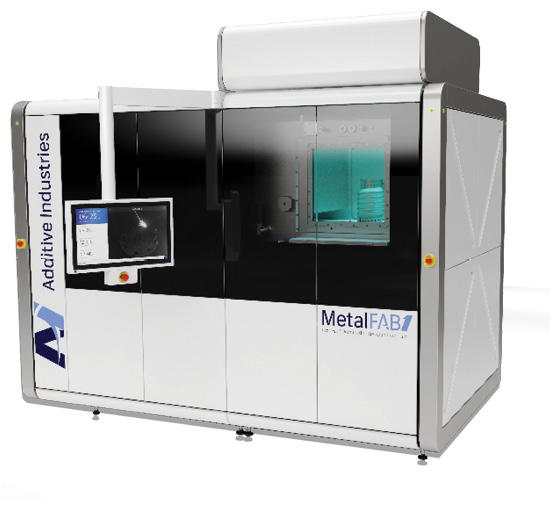 The MetalFAB1 Process & Application Development Tool uses metal powder bed fusion with up to four lasers. It has a 16.5x16.5x15.8-in. build volume. Image courtesy of Additive Industries.