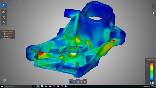 The ANSYS Discovery Live multiphysics exploration application is intended for designers and other engineers who do not normally use upfront simulation. It leverages the massive parallel processing power of NVIDIA GPUs (graphics processing units) to deliver a design environment where simultaneous visualization and simulation are possible. Image courtesy of ANSYS Inc.