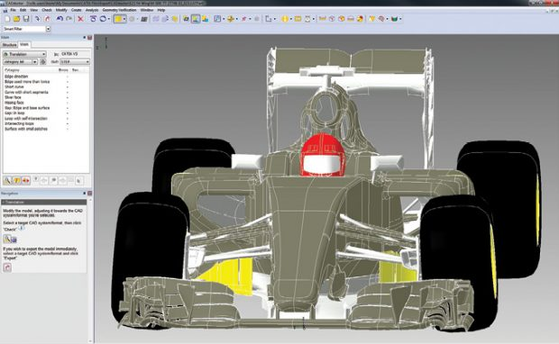 Elysium's CADdoctor software lets you convert 3D data. The tool is used by the Renault F1 team. Images courtesy of Elysium.