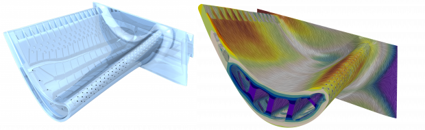 Fig. 1: Aerodynamic and thermal prediction of a candidate blade design. A. (left) Candidate blade design with complex cooling features. B. (right) Aerodynamic and thermal prediction.