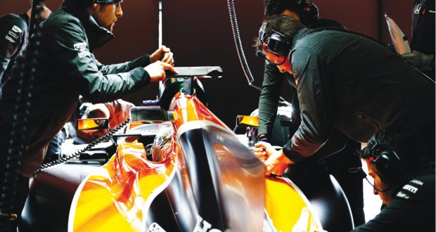 McClaren F1 team engineers prep for testing. Image courtesy of McLaren Racing and Stratasys.