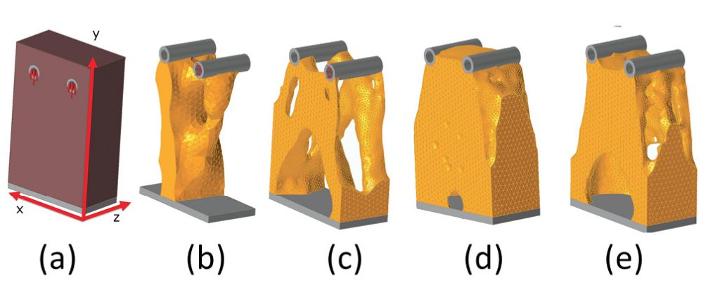Fig. 1: (a) design space, (b) axial load, (c) bending load, (d) torsional load and (e) combined loads.