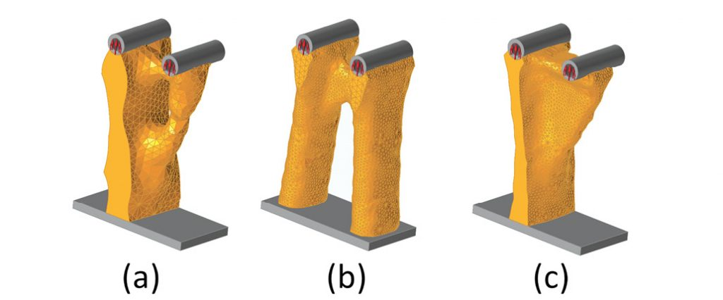 Fig. 2: (a) axial load free form, (b) axial load YZ symmetry and (c) axial load XY symmetry.