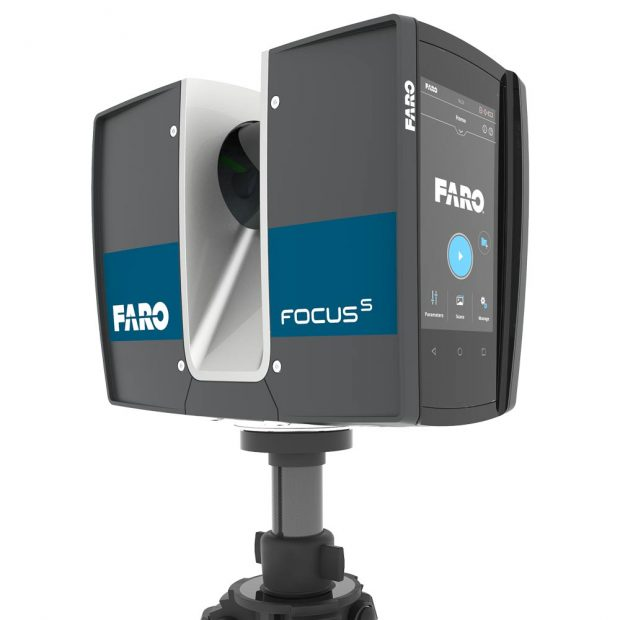 A close-up shot of the FARO FocusS 70 laser scanner mounted on its optional tripod. Image courtesy of FARO Technologies Inc.