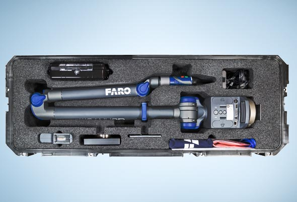 The portable QuantumS FaroArm in its carrying case. Image courtesy of FARO Technologies Inc.