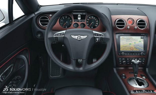 The rendered automotive interior shown here is created with SolidWorks Visualize. The software, SolidWorks Visualize Professional, offers a network rendering license to speed up the job. Image courtesy of SolidWorks.