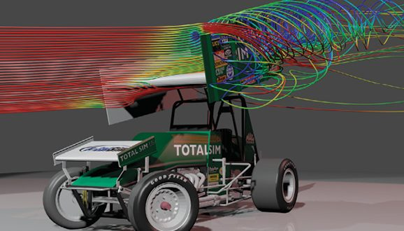 Stream lines passing over the rear wing of a dirt track vehicle. Images courtesy of TotalSim.