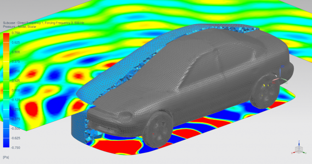 FEM Adaptive Order is a next generation finite element acoustics solver in Simcenter 3D that greatly speeds up solution of vibro-acoustic phenomena. Image courtesy of Siemens.