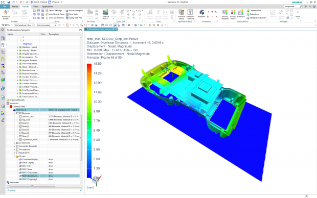 Nonlinear drop test simulation for an electronics device performed using NX Nastran. Image courtesy of Siemens.