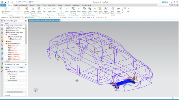 Simcenter 3D supports hybrid modeling that combines test and simulation based models for structural dynamics and NVH analysis. Image courtesy of Siemens.