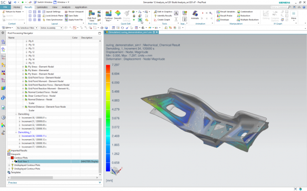 Composites simulation with Simcenter 3D have been extended to include simulation of curing and spring back effects to enable manufacturability assessments. Image courtesy of Siemens.