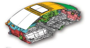 Section view of vehicle body and air cavity geometry of the automotive vehicle coupled structure/acoustic model used for the benchmark.
